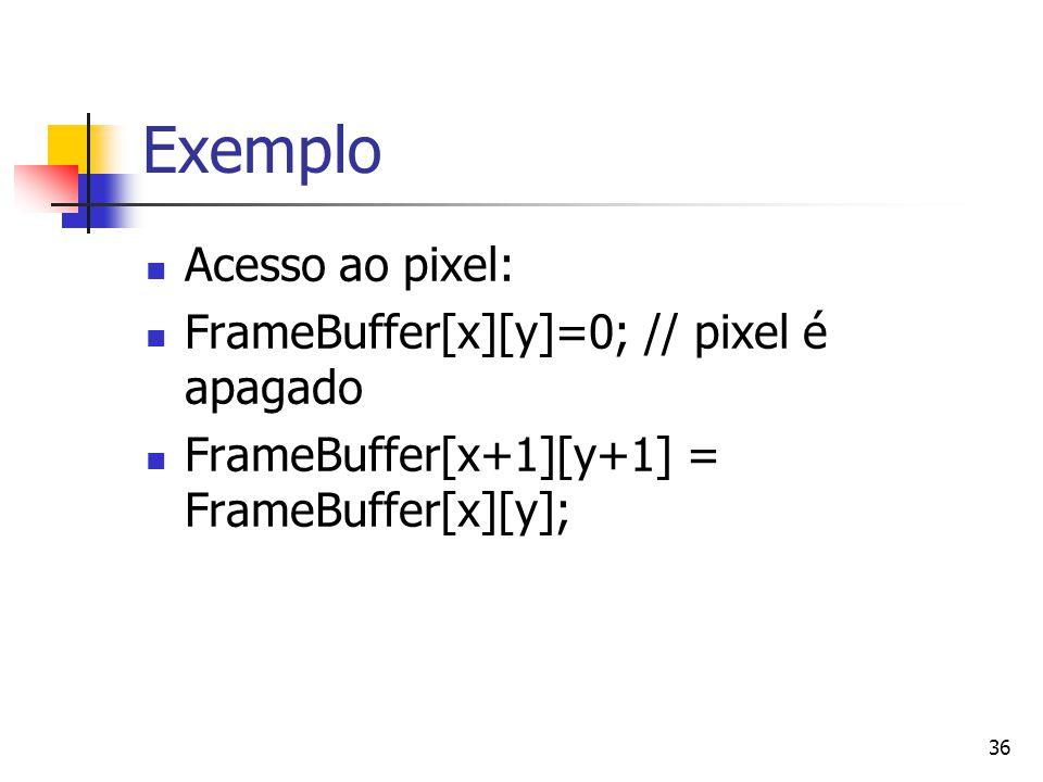 Exemplo Acesso ao pixel: FrameBuffer[x][y]=0; // pixel é apagado
